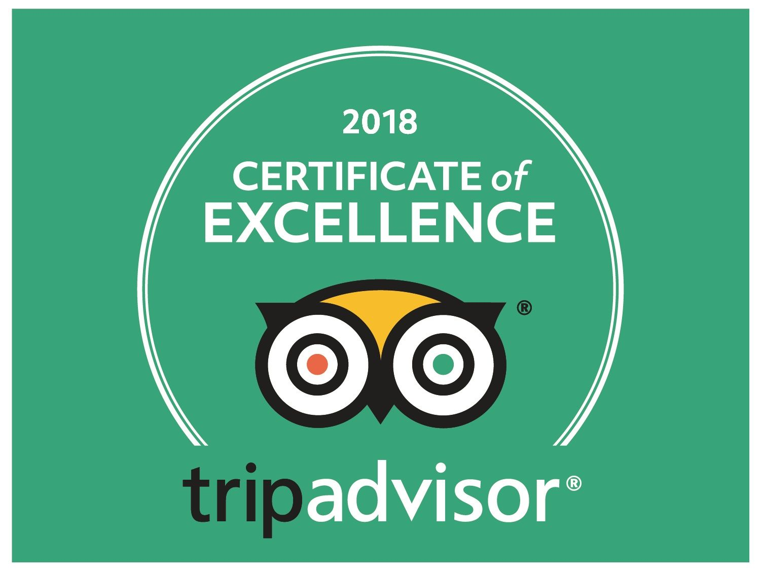 Tripadvisor Certificate of Excellence Winner 2018