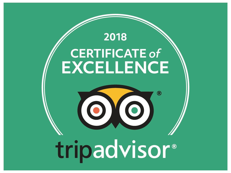 Tripadvisor Certificate of Excellence Winner 2018